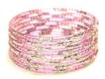 Silver Glitter Lavender Indian GLASS Bangles Sari Bracelets Build-A-Bangle XL 2.12