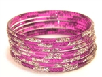 Silver Glitter Purple Indian GLASS Bangles Sari Bracelets Build-A-Bangle M/L 2.10