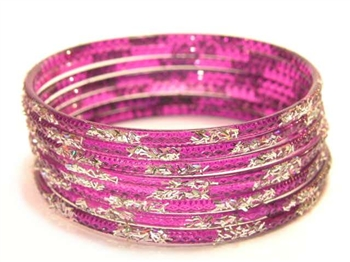 Silver Glitter Purple Indian GLASS Bangles Sari Bracelets Build-A-Bangle XL 2.12