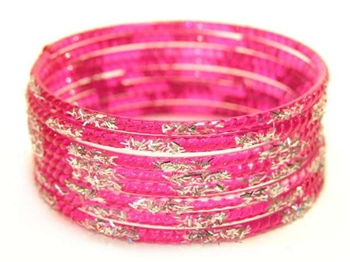 Silver Glitter Fuchsia Indian GLASS Bangles Sari Bracelets Build-A-Bangle 2.6