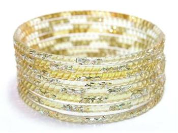 Silver Glitter Yellow Indian GLASS Bangles Sari Bracelets Build-A-Bangle M/L 2.10