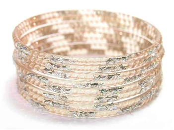 Silver Glitter Taupe Indian GLASS Bangles Sari Bracelets Build-A-Bangle XL 2.12