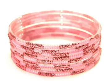 Matching Glitter Pink Indian GLASS Bangles Sari Bracelets Build-A-Bangle XL 2.12