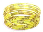 Matching Glitter Yellow Indian GLASS Bangles Sari Bracelets Build-A-Bangle M/L 2.10