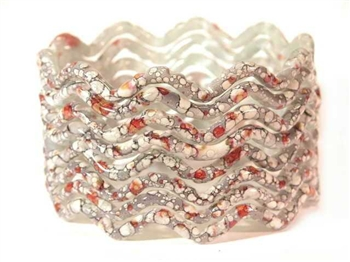 Zig Zag Gray Indian GLASS Bracelets Build-A-Bangle M/L 2.10