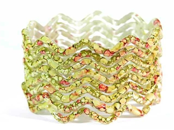 Zig Zag Olive Green Indian GLASS Bracelets Build-A-Bangle M/L 2.10