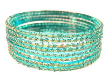 Turquoise Indian GLASS Bracelets Build-A-Bangle S 2.6