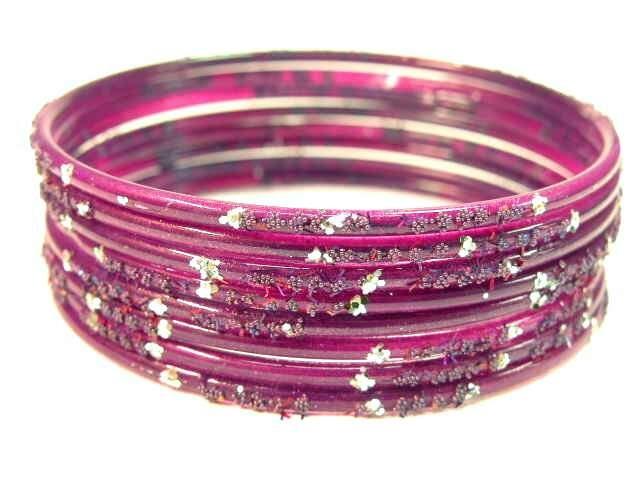 Solid Purple Indian Gl Bangle Set S 2 6