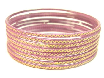 Stamped Lavender Indian GLASS Bracelets Build-A-Bangle XL 2.12