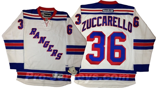 Reebok Premier NHL New York Rangers  36 Mats Zuccarello Away White Jersey  Larger Photo ... d098806f7