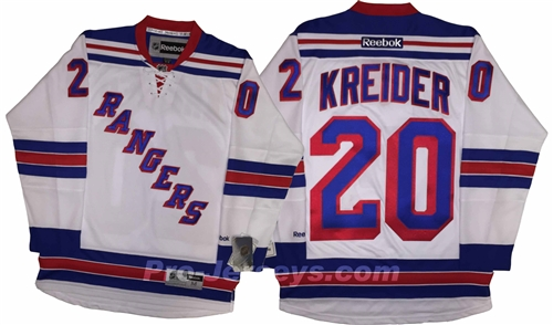 Reebok Premier NHL New York Rangers  20 Chris Kreider Away White Jersey  Larger Photo ... c562565ff