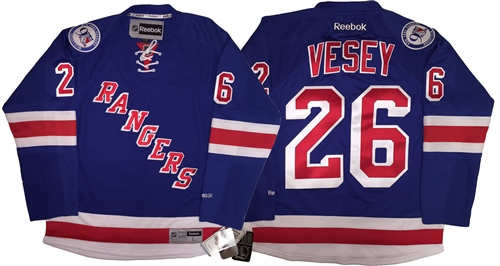 reputable site 07a4e cbcb6 Reebok Premier 90th Anniv/ 100th NHL Anniv New York Rangers #26 Jimmy Vesey  Home Jersey