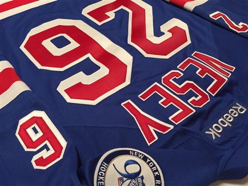 9b35f54d3 Reebok Premier 90th Anniv  100th NHL Anniv New York Rangers  26 Jimmy Vesey  Home Jersey