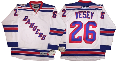 buy popular 1233a afc30 Reebok Premier NHL 2016-17 90th Anniv New York Rangers #26 Jimmy Vesey Away  White Jersey