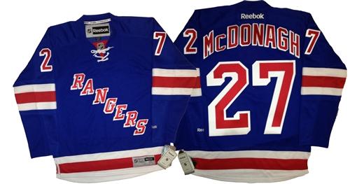buy popular e3056 ec308 Official Reebok Premier New York Rangers #27 Ryan McDonagh Home Blue Jersey