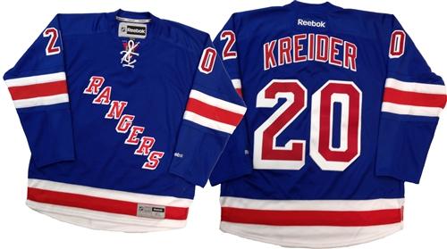 best service ec102 fef10 Official Reebok Premier New York Rangers #20 Chris Kreider Home Blue Jersey