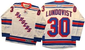 Official Reebok Premier New York Rangers  30 Henrik Lundqvist Away White  Jersey 7b450ffb0