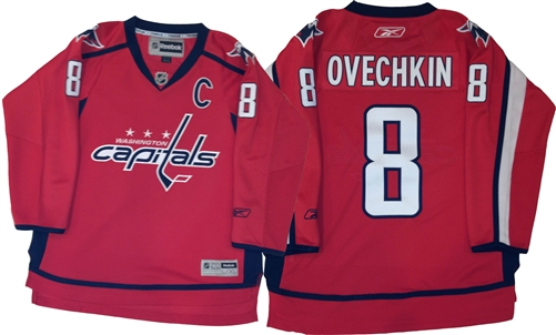the latest ea84e 56d67 Official Reebok Washington Capitals #8 Ovechkin Youth Home Jersey