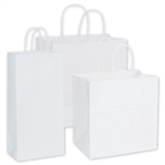 Assorted White Kraft Paper Shopping Bags