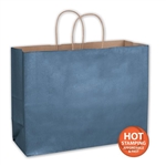 "Metallic Blue Paper Shopping Bags 16"" x 6"" x 12"""