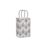 Black Damask on White Kraft paper shopping bags