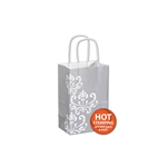 Silver Chic on White Kraft paper shopping bags
