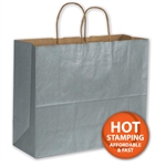 "Silver Metallic Paper Shopping Bags 16"" x 6"" x 12"""