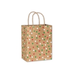 Holiday Dots Kraft Cub paper shopping bags