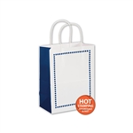 Madison Navy on White Cub paper shopping bags