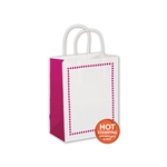 Madison Raspberry on White Cub paper shopping bags