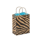 Wildside Zebra Kraft Cub paper shopping bags
