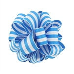 Wired Striped Carnival Grosgrain - Turquoise/White