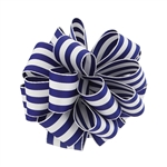 Wired Striped Carnival Grosgrain - Royal/White