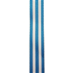 Striped Carnival Grosgrain - Turquoise/White