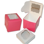 Single Cupcake Box in Pink with window