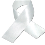 Double Face Satin Ribbon - White - 100 Yards/Roll - 3 Widths