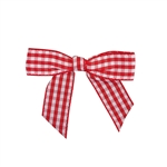Pre-Tied Gingham Twist Tie Bows - Red/White