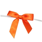 "5/8"" Pre-Tied Satin Twist Tie Bows - Orange"