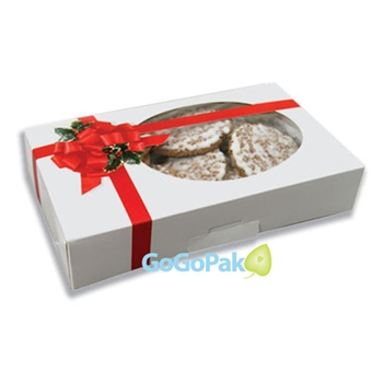 Medium Grease Resistant Cookie/Bakery Boxes-Ribbon N' Holly