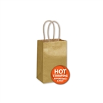 "Metallic Gold Paper Shopping Bags 5-1/2"" x 3-1/2"" x 8-1/4"""
