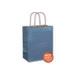 "Metallic Blue Paper Shopping Bags 8"" x 4-3/4"" x 10-1/2"""