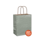 "Metallic Sage Paper Shopping Bags 8"" x 4-3/4"" x 10-1/2"""