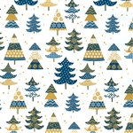Gift Wrap Christmas Paper - Blue & Gold Trees