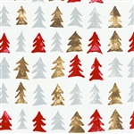 Gift Wrap Christmas Paper - Metallic Pine Trees