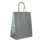 Silver Metallic Kraft Paper Shopping Bags