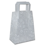 "Frosted Bags Petite - Floral Sketch White 100 Bags/Case - 8"" x 4"" x 10"""