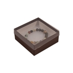 "Clear Lid with Brown Base Jewellery Boxes 3-1/2"" x 3-1/2"" x 1-7/8"""