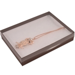 "Clear Lid with Brown Bases Jewellery Boxes 7"" x 5"" x 1-1/4"""