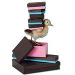 Jewellery Boxes-Chocolate Embossed & Choco Aqua-Choco Pink Duos