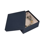 "Navy Blue Kraft Jewellery Boxes - 3-1/2"" x 3-1/2"" x 1-1/2"""